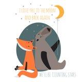 Cartão romântico com urso e raposa Foto de Stock