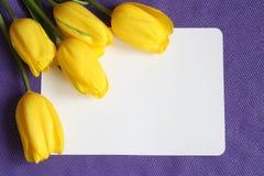 Cartão romântico das tulipas - foto conservada em estoque dos Valentim Imagens de Stock Royalty Free