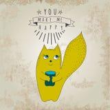 Cartão romântico do conceito com raposa bonito Fotos de Stock Royalty Free