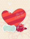 Cartão romântico do vetor com frame e foto Imagem de Stock