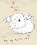 Cartão romântico do vintage com animal bonito. Ilustração Stock