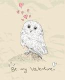 Cartão romântico do vintage com animal bonito. Ilustração do Vetor