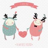Cartão romântico dos desenhos animados Foto de Stock Royalty Free