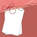 Cartão rosado das felicitações com as folhas para o projeto Imagem de Stock Royalty Free