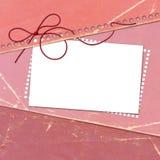 Cartão rosado das felicitações com a folha para o projeto Fotografia de Stock Royalty Free