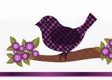 Cartão roxo do pássaro Imagem de Stock
