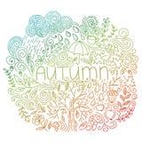Cartão sazonal do outono Rabiscar o cartão da queda com outono da palavra, elementos florais, nuvem e gotas de chuva, queda da ár Imagem de Stock
