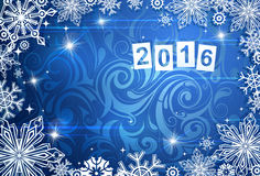 Cartão sazonal pelo ano 2016 com contexto da geada ilustração royalty free