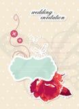 Cartão scrapbooking do convite do casamento do vetor Foto de Stock