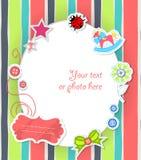 Cartão scrapbooking do vetor para o bebê com texto Fotos de Stock