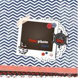 Cartão scrapbooking do vintage náutico com fram da foto Fotos de Stock