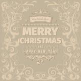 Cartão simples do Feliz Natal do vintage retro ilustração royalty free