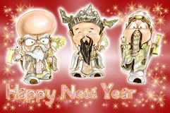 Cartão superior chinês de Hok Lok Siew Happy New Year do homem da árvore Fotografia de Stock Royalty Free