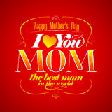 Cartão tipográfico do dia feliz do ` s da mãe. Foto de Stock