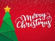 Cartão tipográfico festivo do Natal Projeto de cartão do Xmas com a árvore, a estrela do ouro, rotulação e neve próximas novas no ilustração do vetor