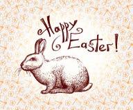 Cartão tirado da Páscoa mão feliz com o coelhinho da Páscoa da rotulação e da garatuja Vetor Imagens de Stock Royalty Free