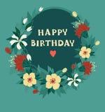 Cartão tirado mão com grinalda floral Imagens de Stock