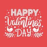 Cartão tirado mão da rotulação do vetor do dia do ` s do Valentim Ilustração monocromática com corações, pássaros e palavras do a Imagem de Stock