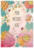 Cartão tirado mão do cumprimento do vetor com flores Foto de Stock