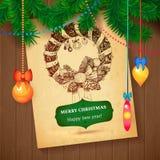 Cartão tirado mão do esboço de Vecrot do Natal para o projeto do xmas com bolas ilustração do vetor