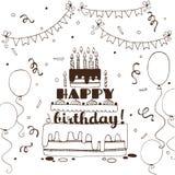 Cartão tirado mão do feliz aniversario Imagens de Stock Royalty Free