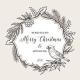 Cartão tirado mão do Natal do vintage feliz ilustração stock