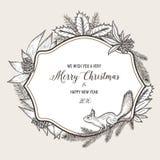 Cartão tirado mão do Natal do vintage feliz ilustração do vetor