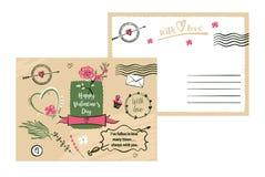 Cartão tirado a mão livre da tipografia no fundo da cor stylish ilustração royalty free
