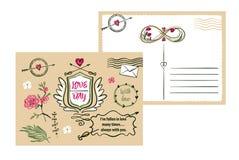 Cartão tirado a mão livre da tipografia no fundo da cor stylish ilustração do vetor