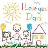 Cartão tirado mão para o dia de pais ilustração royalty free