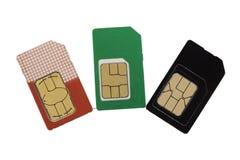 Cartão três de SIM Imagem de Stock
