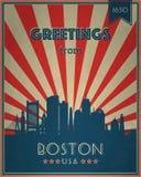 Cartão turístico do vintage - Boston ilustração stock