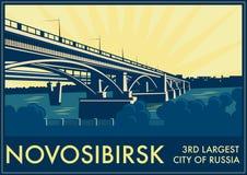 Cartão turístico do vintage - Novosibirsk, Rússia Imagens de Stock Royalty Free