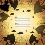Cartão universal com árvores e pássaros Fotos de Stock Royalty Free