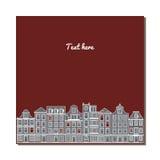 Cartão universal com construções europeias velhas do estilo Casas de Amsterdão Fotografia de Stock