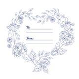 Cartão universal com corações das flores Foto de Stock Royalty Free
