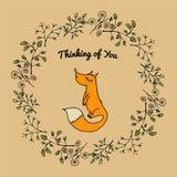 Cartão universal com ramos e raposa Imagens de Stock Royalty Free
