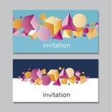 Cartão vívido abstrato de Horisontall Cor 3d do conceito geométrica Imagens de Stock Royalty Free