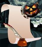 Cartão vazio dos desenhos animados com um cumprimento em Dia das Bruxas Foto de Stock