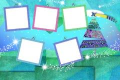 Cartão vazio dos quadros da foto do Natal cinco ilustração do vetor