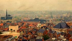 Cartão velho com vista aérea de Lovaina, Bélgica, do universit Fotos de Stock Royalty Free