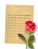 Cartão velho do vintage com uma rosa bonita do vermelho no papel Imagens de Stock Royalty Free
