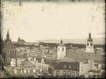 Cartão velho do vintage de Praga Foto de Stock Royalty Free