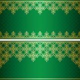 Cartão verde com o ornamento do vintage do ouro Fotografia de Stock Royalty Free