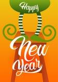 Cartão verde da celebração do ano novo feliz do feriado dos pés do duende do Natal Foto de Stock Royalty Free