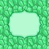 Cartão verde do convite com esmeraldas Imagens de Stock Royalty Free