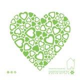 Cartão verde dos corações da ecologia Foto de Stock Royalty Free