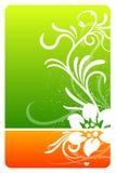 Cartão verde e alaranjado do projeto floral ilustração stock
