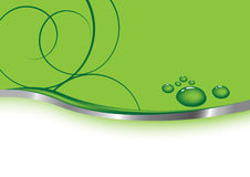 Cartão verde - waterdrops Imagens de Stock Royalty Free