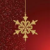 Cartão vermelho com floco de neve do Natal ilustração stock